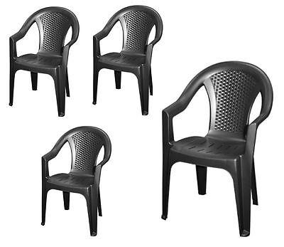 Gartenstuhl Rattan Optik - 4er Set anthrazit - Monoblock Garten Kunststoff Stuhl
