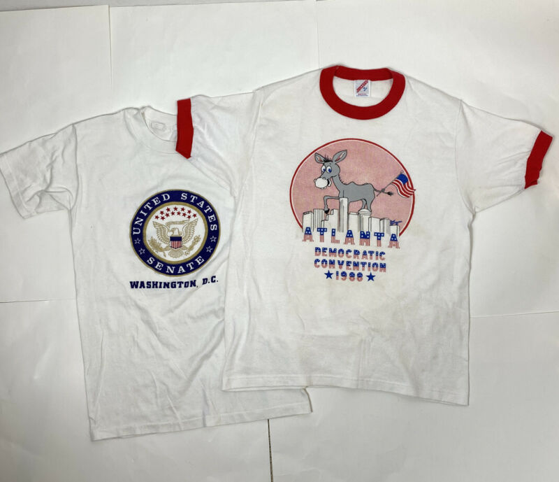 2 Vtg Single Stitch Political T-Shirts 1988 Democratic Convention & US Senate