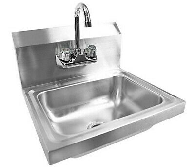 17 X 15 X 14 Wall Mount Kitchen Hand Wash Sink Stainless Steel W Faucet New