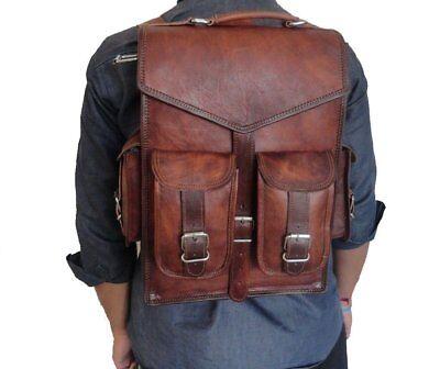 Männer Frauen Vintage Leder Rucksack Schulranzen Laptop - Umhängetasche 15