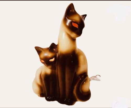 Vintage Kron Siamese Cat Mid Century Modern TV Lamp Light Glowing Eyes
