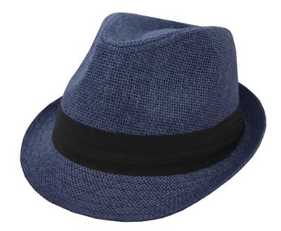 Hatter Men's Straw Fedora Navy Blue With Black Band 62cm 2xl