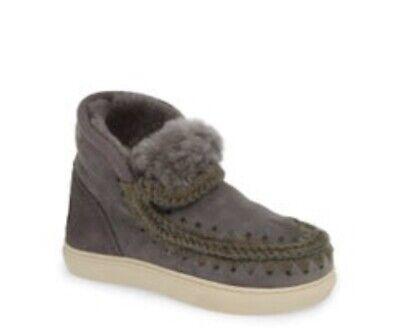 New MOU Kids Gray Shearling Sneaker Boots EU 32 (US 1)