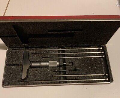 Starrett 0-6 Inch Depth Micrometer Set No. 445 Free Shipping