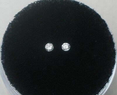 White Natural Diamond Loose Round Faceted Pair 2mm each