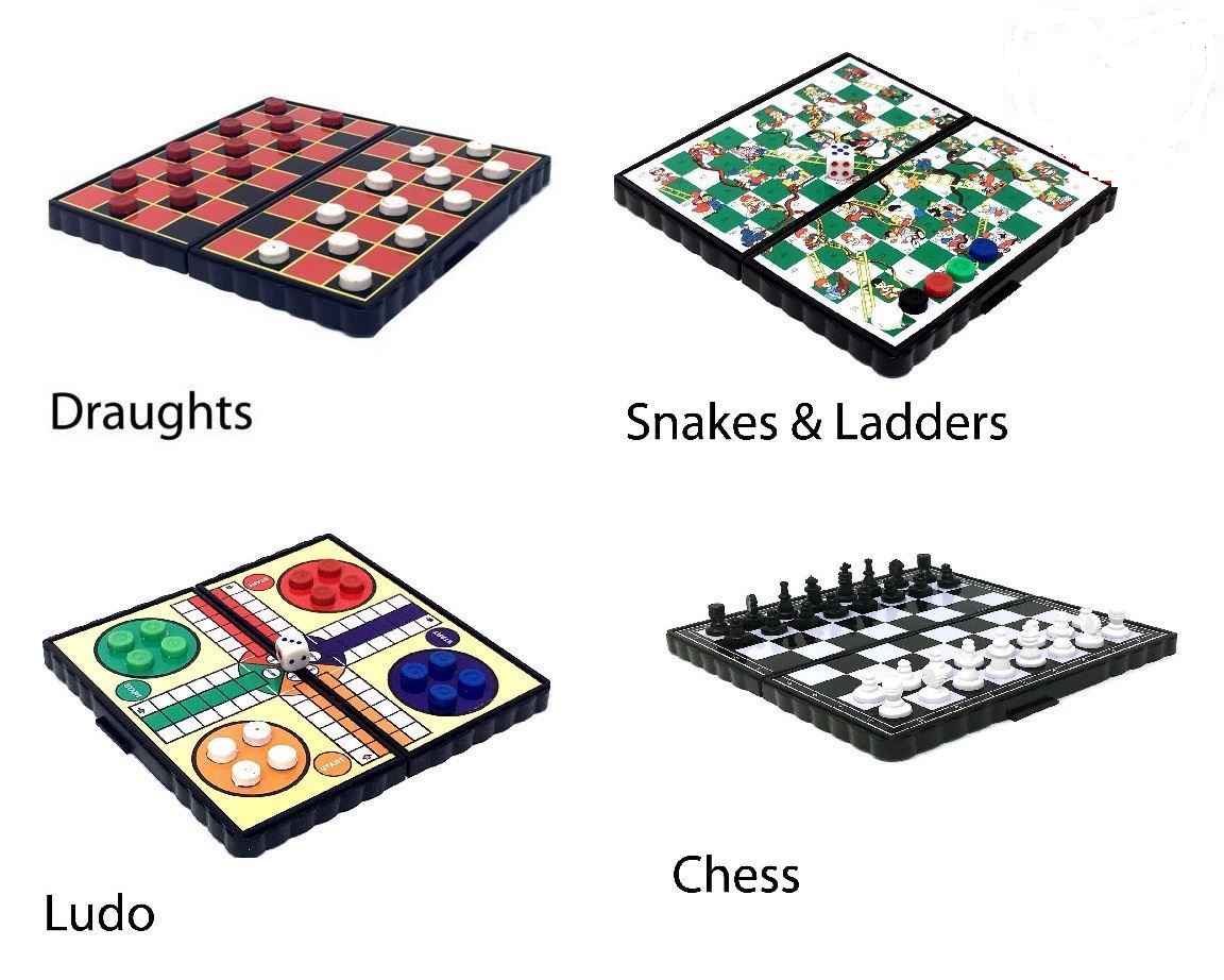 Magnetic Travel Board Games set of 4  snakes  ladders ludo chess draught