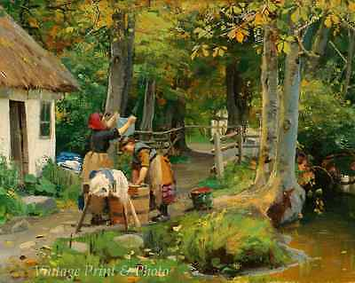 Wash Day by Peder Mork Monsted - Woman Girl Cottage Wood Laundry 8x10 Print -