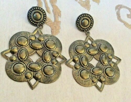 Vintage Earrings Pierced Brass Gold Tone Dangle Jewelry Large Boho Ethnic Womens