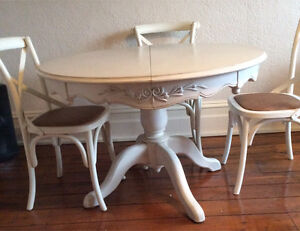 Dining Table extendable French Provincial + 6 x cross back chairs Richmond Yarra Area Preview