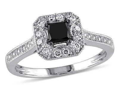 Black and White Diamond Engagement Ring 1/2 Carat (ctW) in 14K (1 Carat Black And White Diamond Ring)