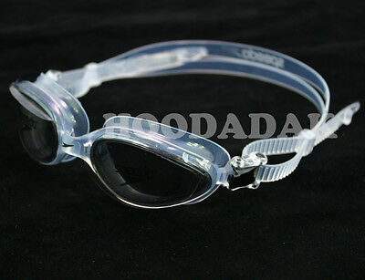 New SPEEDO Professional Adult Swim Goggles UV ANTI FOG LATEX-FREE Black-Clear