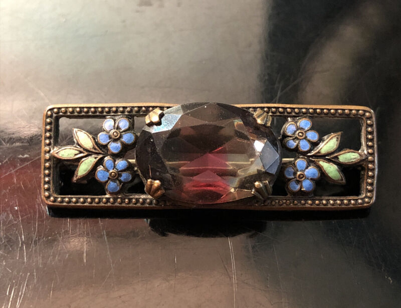 Lovely Vintage Antique Art Deco Floral Enamel Pink & Yellow Glass Brooch Pin