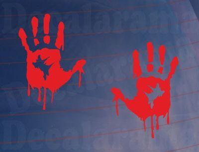 Car Stickers BLOODY HAND PRINTS Funny Zombie Joke Van Truck Window Bumper