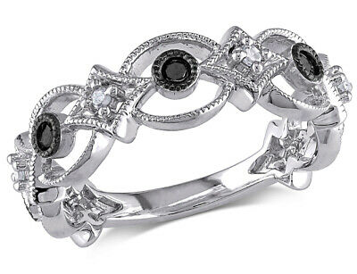 Black and White Diamond Ring 1/6 Carat (ctw) in Sterling (1 Carat Black And White Diamond Ring)