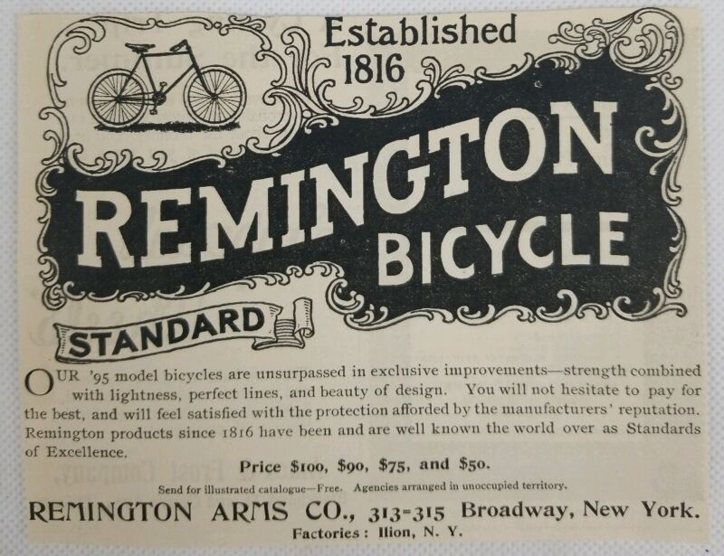 c.1895 Remington Arms Company Standard Bicycle Print Ad!  Great Condition! A31