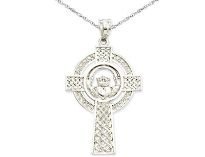 14k White Gold Celtic Claddagh Cross Pendant ()