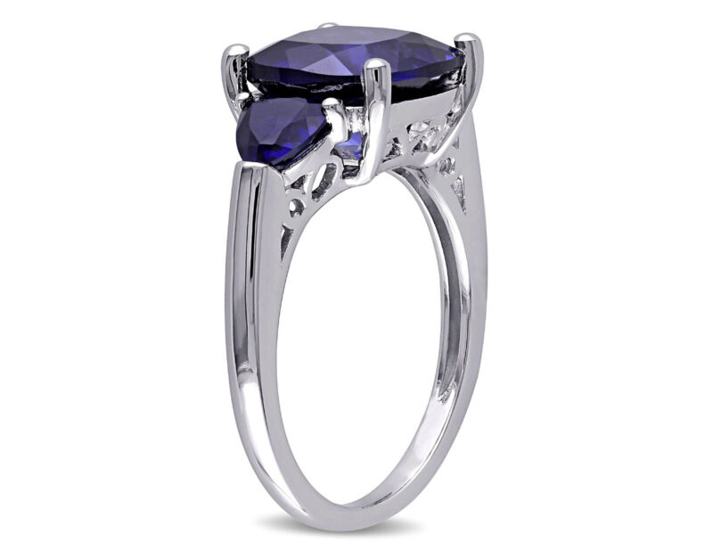 ctw 7.10 Carat Created Blue Sapphire Ring Sterling Silver