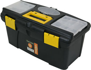 Plastic Tool Box Sturdy Lockable 4 Sizes Removable Storage Compartments DIY NEW