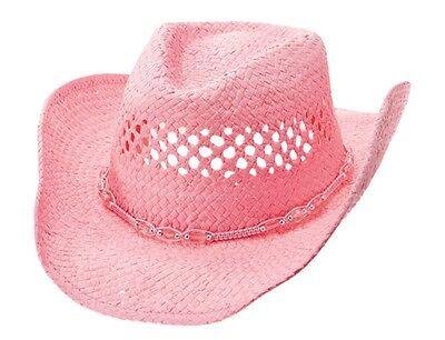 MG Womens Straw Outback Toyo Cowboy Hat Pink #1114 - Pink Straw Cowboy Hat