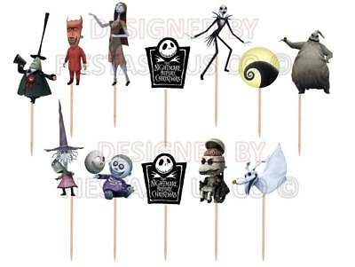 Nightmare Before Christmas Cupcake Toppers 12 or 24 pc - Christmas Toppers