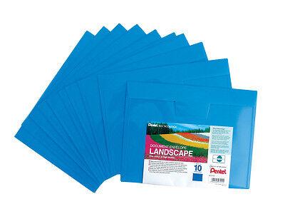 10 X A4 Plastic Document Wallets Envelope Landscape Folding Tabs - Blue - Pentel