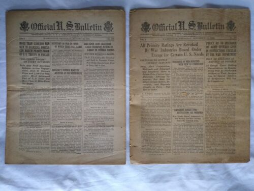 WWI Official US Bulletin Daily Newspapers Aug 24 & Nov. 21 1918 Casualty Lists