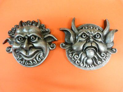 Labyrinth Mouth Holding And Deaf Door Knocker Faces  From Jim Henson silver