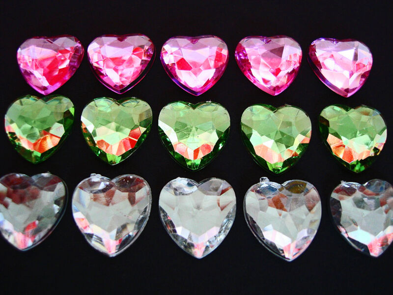 60 Heart Shape Sparkly Rhinestone Acrylic 14mm Jewel/Red/Pink/Crystal E19-Color