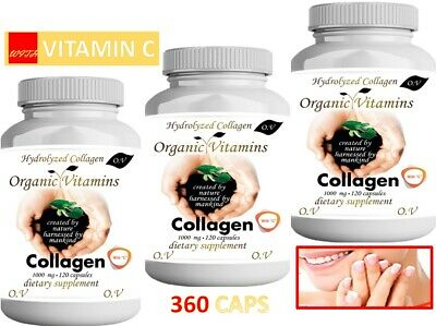 3 Hydrolized Collagen + Vitamin C 360 CAPS hidrolizado,hydrolyzed,colageno