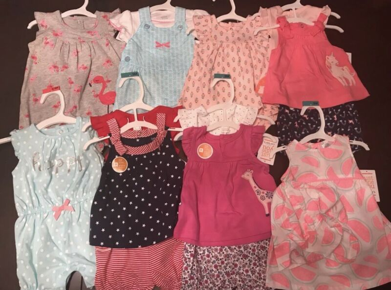 Infant Baby Girl 3m Summer Clothing Lot Pink Blue Floral Flamingo Bow Rompers
