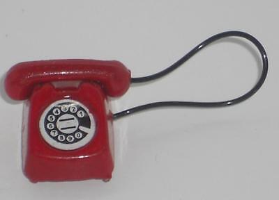 Telefon, 60er Jahre rot, Maßstab 1:12, Miniatur f.d. Puppenstube/Puppenhaus #02#