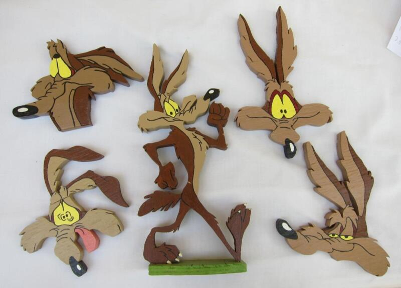 5 Pro Hand Painted Wood Warner Brothers Bros Wile E Cayote Flat Figures Cartoon
