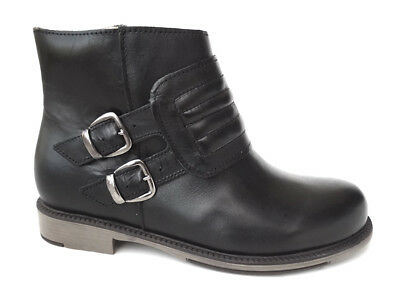 OGS Wide Shoes Danaya Black Leather Boots 3E -