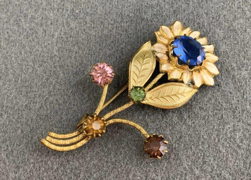 Antique Edwardian Art Nouveau Floral Multi Color Crystal Bouquet Pin Brooch