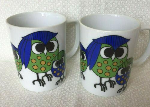 Fitz and Floyd Art Deco Retro Blue/Green Polka Dot Owl Family Set of Two Mugs
