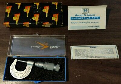 Vintage Brown Sharpe No.1 Stainless Steel Micrometer In Original Case And Box