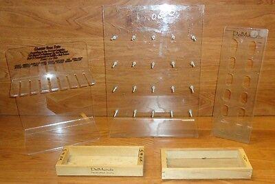 Jewelry Display Stands Clear Plastic Qty 3 Wood Trays Qty 2