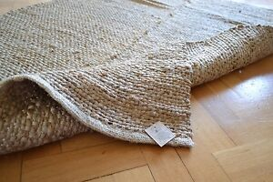 Jute Rug Handmade Flat Knotted Dhurrie Runner 60cm X 90cm Natural Eco 2 X3