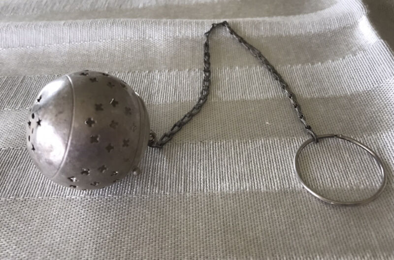 Antique STERLING SILVER Floral TEA BALL STRAINER Round Dunking Chain Stars