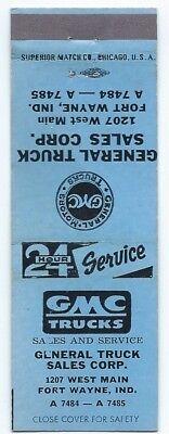 GMC TRUCKS vintage matchcover matchbook - FORT WAYNE, INDIANA
