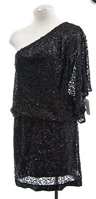 JESSICA SIMPSON NEW Black Sequined One Shoulder Party Clubwear Dress Sz