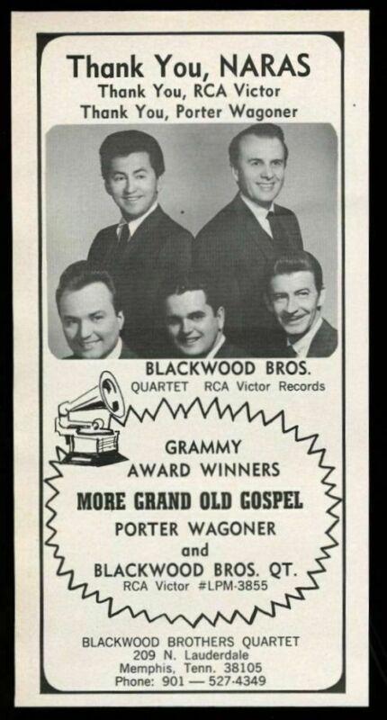 1968 Blackwood Brothers quartet photo vintage trade print ad