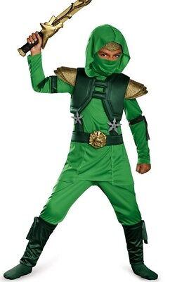 Shadow Ninja Green Master Ninjas Uprising Costume Deluxe - 3T-4T 4-6 7-8 - (Green Ninja Costume)