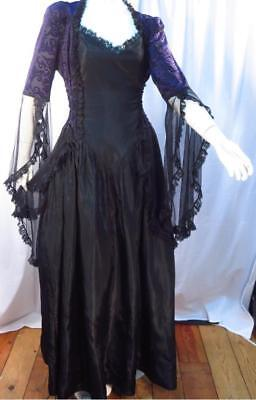Satin Victorian Dress (Goth Victorian Lace Black Satin Eternal Love Dress - XL)