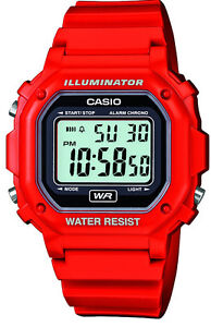 Casio Red Illuminator Watch with Alarm and Stopwatch - F-108WH-4AEF