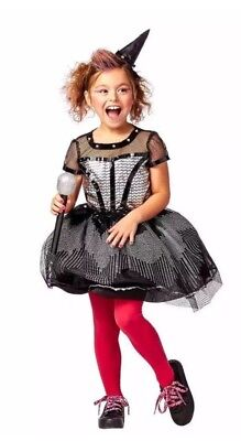 NWT Girls Rock Star Witch Halloween Costume Dress Role Play L 10/12 80s Singer](Girls Rock Star Costumes)