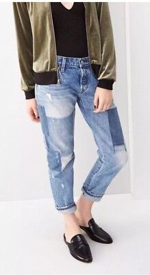 Levi's 501® Stacked Patch Boyfriend Cropped Jeans NWT Size 28 Anthropologie $198