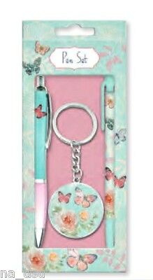 BUTTERFLY & ROSE GIFT SET Pen Pencil KEYRING STATIONARY GIRL LADY