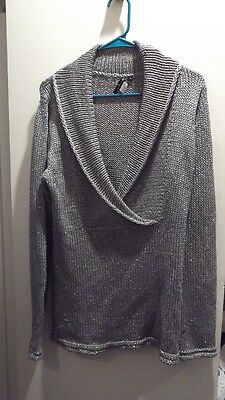 CHRIS TAN Silver Metallic Holiday Pullover Sweater Top - SIZE LARGE