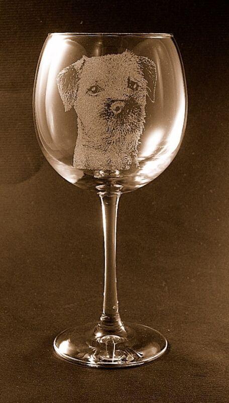 New Etched Border Terrier on Large Elegant Wine Glasses - Set of 2